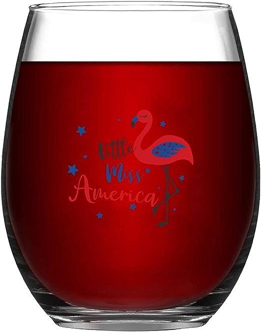 Wine Glasses Coffee,Beer,Cocktails Drinks Wine Tumbler Gift Little Miss America Flamingo Wine Glass Tumbler