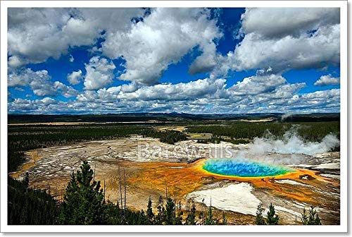 Grand Prismatic Pool Yellowstone National Park Paper Print Wall Art (16in. x 24in.)