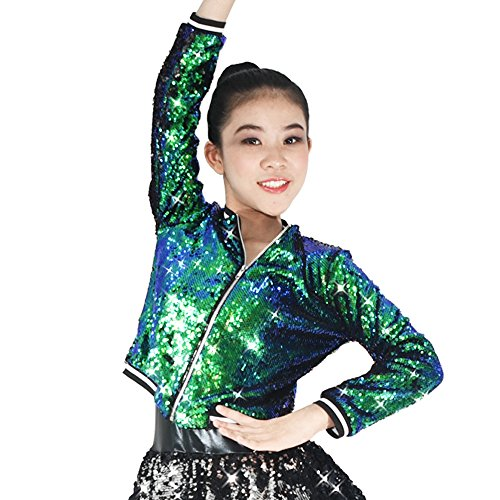 Hip Hop Competition Costumes (MiDee Full Sequins Costume Jacket Long Sleeves Stage Performance Outfits Hip-Hop Aerobics (LC, Emerald))