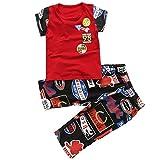 Vividda Boys Summer Clothes Printed Crewneck Shirt with Colorful Shots Clothing Set 5-6 Years Old Red