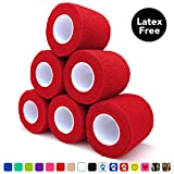 Cohesive Bandage 2' x 5 Yards, 6 Rolls, Self Adherent Wrap Medical Tape, Adhesive Flexible Breathable First Aid Gauze Ideal for Stretch Athletic, Ankle Sprains, Swelling, Sports, Human, Animal, Red