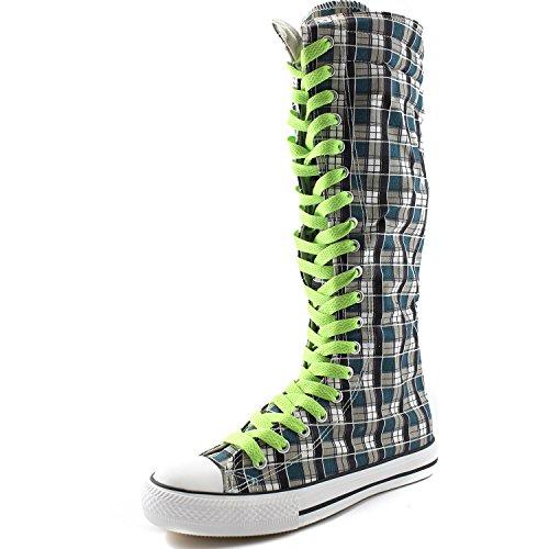 Dailyshoes Tela Donna Stivali Alti Metà Polpaccio Casual Sneaker Punk Flat, Stivali Scozzesi Blu Wht, Pizzo Verde Menta