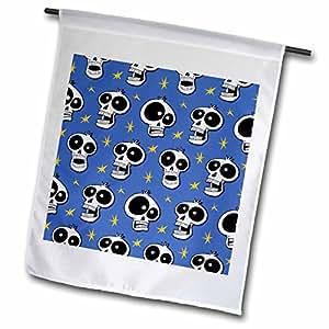 Mark Grace CARTOON SKULL PATTERNS funny skulls - SKULL PATTERN mixed toon skulls 1b on blue - 18 x 27 inch Garden Flag (fl_58992_2)