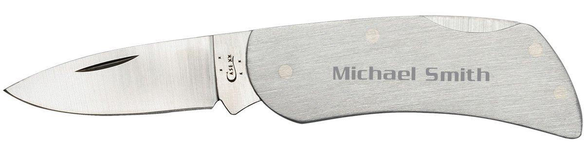 Visol Personalized Case Executive Lockback Brushed Stainless Steel Knife – Free Engraving