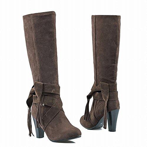 Mee Shoes Damen chunky heels langschaft Nubukleder Stiefel Dunkelbraun