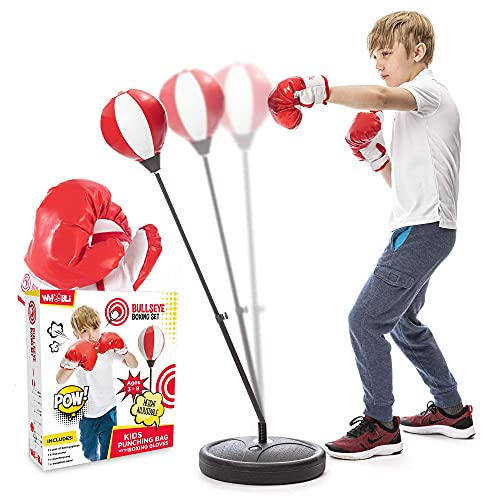 Whoobli Punching Bag for Kids Incl Boxing Gloves   3-8 Years Old Adjustable Kids Punching Bag with Stand   Boxing Bag…