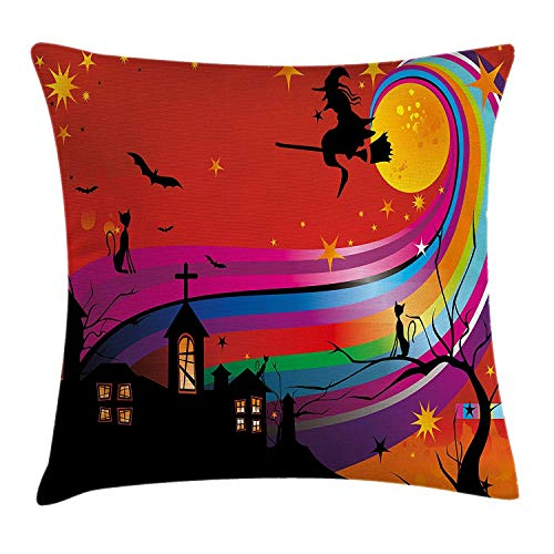 Anticso Halloween Throw Pillow Cushion Cover by, Witch Woman on Broomstick Bats Cat Stars Rainbow Moon Castle Abstract Colorful, Decorative Square Accent Pillow Case, 18 X 18 Inches, Multicolor -