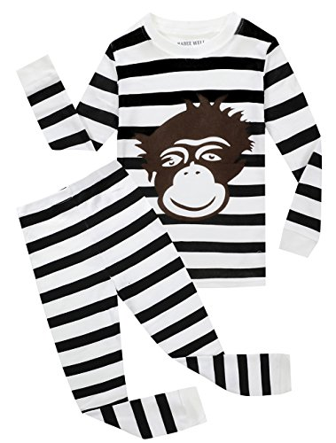 BABEE WELL Monkey Boys Striped Pajamas Childrens Cotton Clothes Pjs Set Kids Sleepwears (White,6)