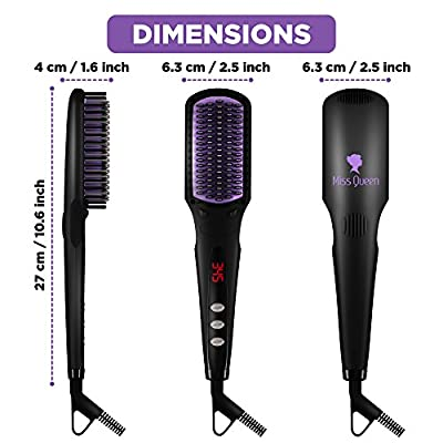 Hair Straightening Brush for Long Hair - Safe-for-Scalp Hot Comb for Hair - Ceramic Straightener with Anti-Scald Hair Comb Teeth - Electric Hot Anti-static Brush - Forget about Frizz and Flyawaysa