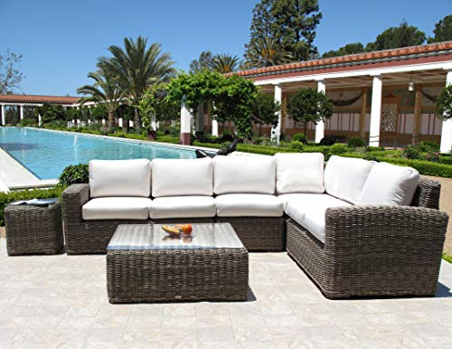 Urban Design Furnishings Monte Carlo Premium Outdoor Resin Wicker 6 Piece Sectional Set Made in USA Sunbrella Cushion
