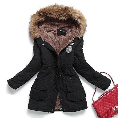 Mintsnow Women's Down Alternative Coat with Faux Fur Trim Hood Black US M