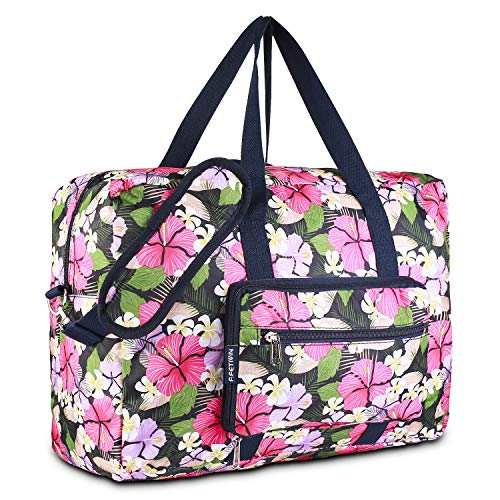 (Foldable Duffel Bag for Travel Luggage Flight Lady Girls Cute Carry On Weekend Tote Bag(Pink Flower))