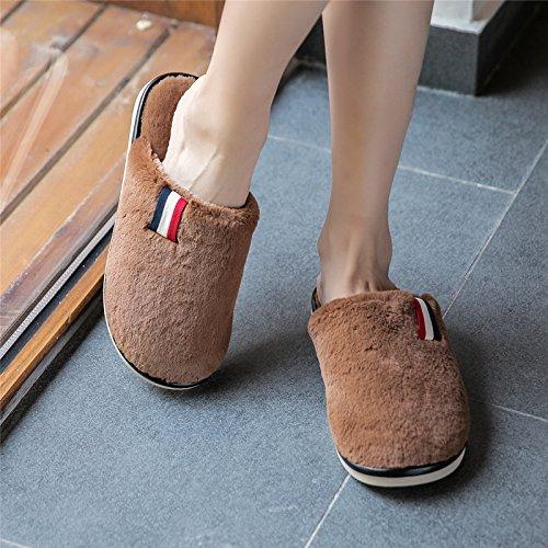 LaxBa Lhiver au chaud, lhiver Chaussons Chaussons moelleux Accueil chaleureux en hiver, chaussures antiglisse Chambre Chaussons Brown45-46 inscrit 44-45