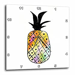 3dRose Janna Salak Designs Tropical - Rainbow Pineapple Watercolor and Ink - 10x10 Wall Clock (dpp_283590_1)
