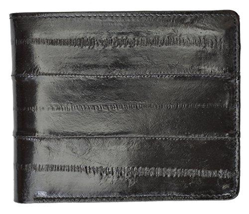 Eel Skin Bi-fold Mens Wallet #E709 (Black)