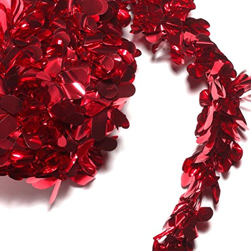 TCDesignerProducts Red Metallic Petal Festooning, 4 Inches x 48 Feet, Pack of 2