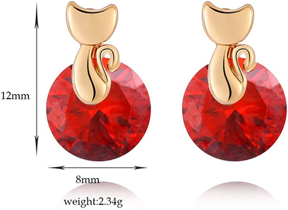 Hacoly Glittering Earrings Woman Girl Alloy Cat Crystal Rhinestone Earrings Stud Jewelry Fashion Charming Gift For Birthday Valentine Wedding Party Silver Red