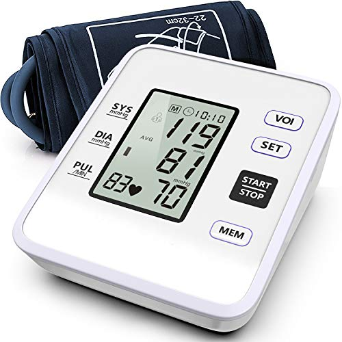 Blood Pressure Monitor Upper Arm Accurate BP Machine Pulse Rate Monitor – Large LCD Display,2 * 99 Reading Memory, Large Cuff Size for Home Use