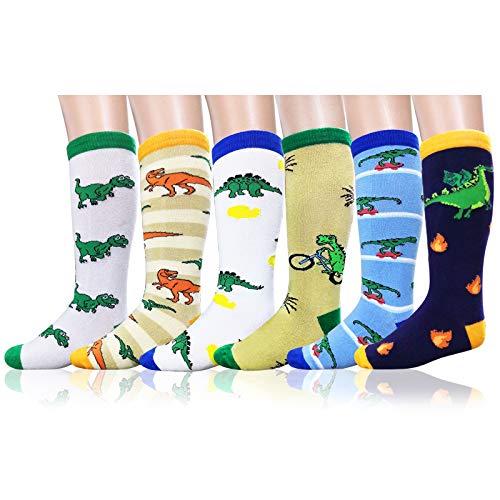 Deer Mum Boys Cartoon Dinosaur Cute Pattern Long Knee High Cotton Socks (3-12Y)]()