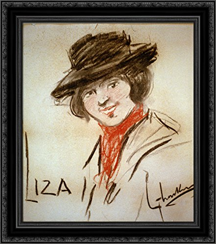 Drawing of Eliza Doolittle, a Character from George Bernard Shaw's Play Pygmalion 24x20 Black Ornate Wood Framed Canvas Art by George LUKS