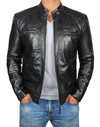 - Decrum Mens Black Moto Quilted Leather Jacket | [1100096] Diamond 1 Black, XXL
