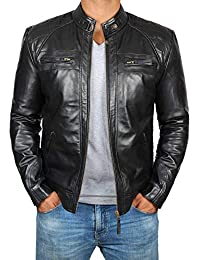 991c21f9 Brown Leather Jacket Mens - Cafe Racer Real Lambskin Leather Distressed  Motorcycle Jacket