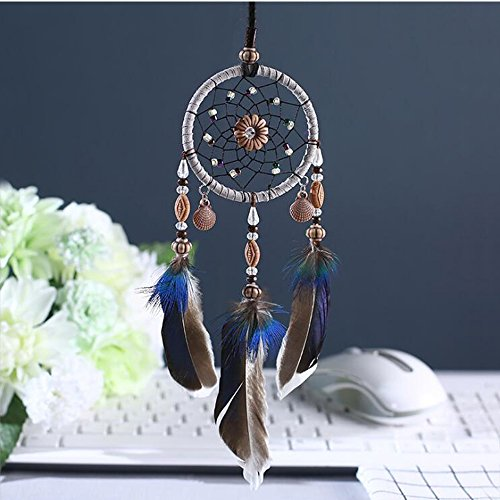 Karleksliv Secret blue with black feather Small size handmade dream catcher for car mirror Bag ornaments native American Decorative XM043 by Karleksliv