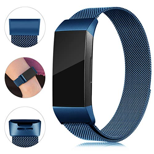 Find-MyWay Replacement Compatible with Fitbit Charge 3 Bands/Charge 3 SE Metal Bands Wristband Accessory Breathable Sport Bracelet Strap Small & Large for Women Men Silver Rose Gold 10 Colors (Blue Metal Rose)