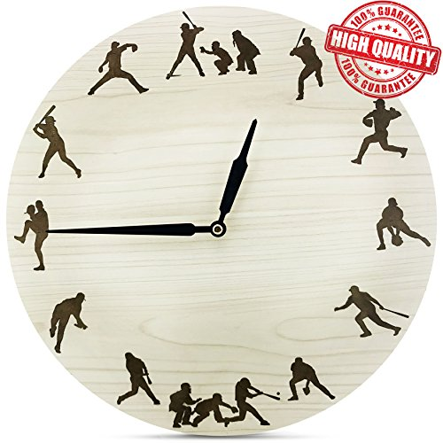 Clock Scoreboard Mlb (HV Store BASEBALL Non-Ticking Wooden Wall Clock)