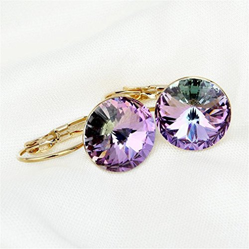 Fashion Jewelry Gold-Color Earring For Women Crystal Purple Drop Earrings 18K Real Gold Plated8