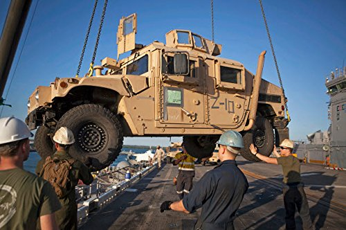 Posterazzi Poster Print Collection US Marines Guide a Humvee Onto Uss Bonhomme Richard Stocktrek Images, (17 x 11), Multicolored - Uss Guide