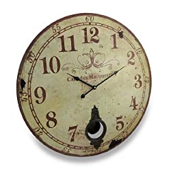 Things2Die4 Cafe De Marguerites Vintage Style Pendulum Wall Clock 23 In.