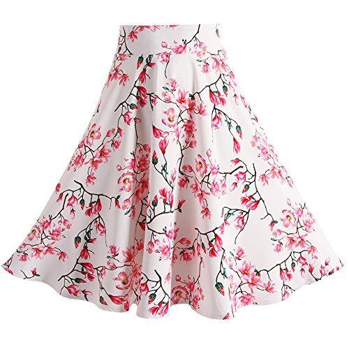 Fancyqube Women Pleated Vintage Skirts Floral Print Midi Skirt Style20 XL