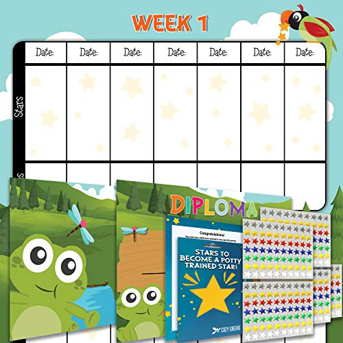 - Potty Training Chart - Reward Sticker Chart - Girls Theme - Marks Behavior Progress - Motivational Toilet Training for Toddlers and Children - Great for Boys and for Girls (Forest Theme)