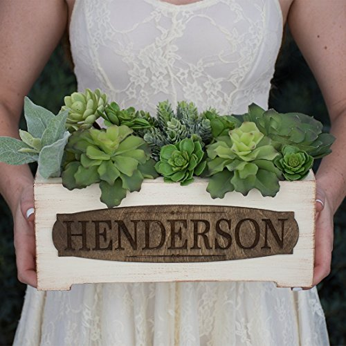 Personalized Vintage Style Wood Planter Box - Family Name (Box Planter Style)