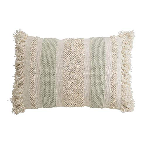 Mud Pie Cotton and Chenille Looped Fringe Lumbar Pillow