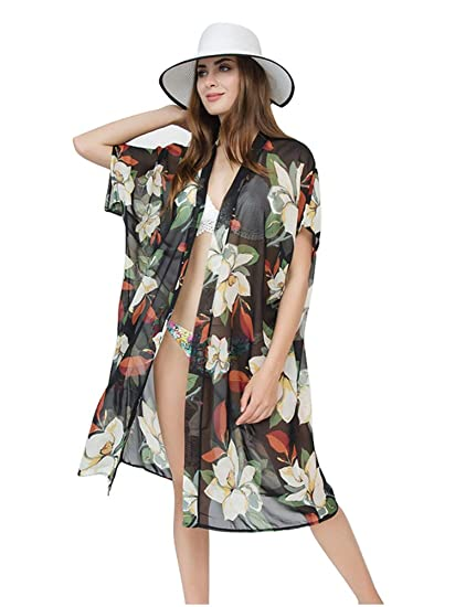 405d5209e475b GERINLY Floral Beach Kimono Cardigan for Swimsuit Kimono Cover Up Chiffon  Bikini Cardigan Black