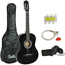 "Smartxchoices 38"" Black Beginners Acoustic Guitar Steel 6-string Wooden Guitar For Starter Dummies Gifts With Guitar Case, Strap, Pitch Pipe and Pick (Black)"
