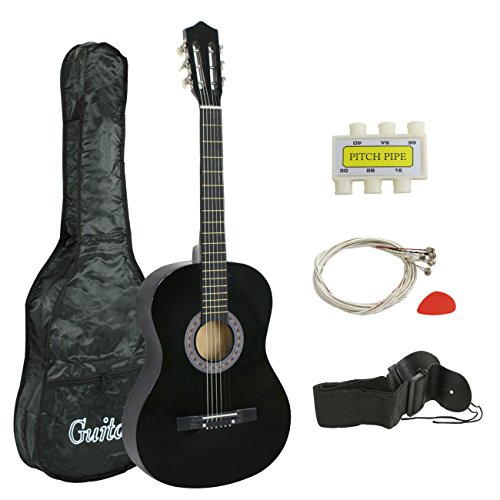 """Smartxchoices 38"""" Black Beginners Acoustic Guitar Steel 6-string Wooden Guitar For Starter Dummies Gifts With Guitar Case, Strap, Pitch Pipe and Pick (Black)"""