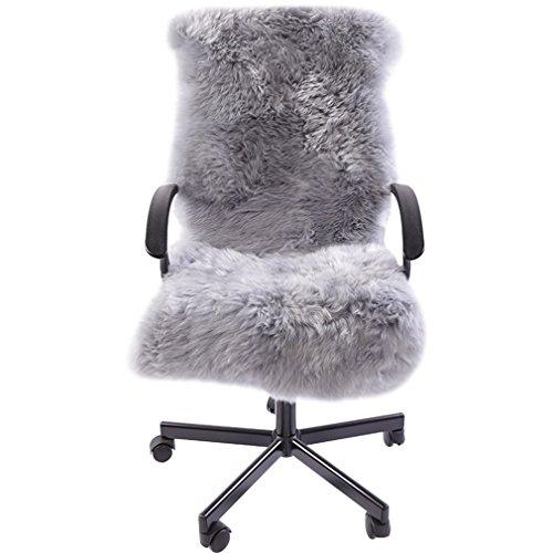 Luxurious Sheepskin Long Wool Square Car Seat Cushion Fur Covers Chair Pads Grey