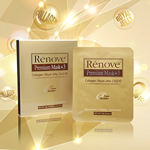 RENOVE Premium Mask +3, collagen, royal jelly, coq10 3 triple action 5 pack