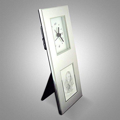Aluminum Photo Frame Desk Clock, Inovative Design, Holds 2