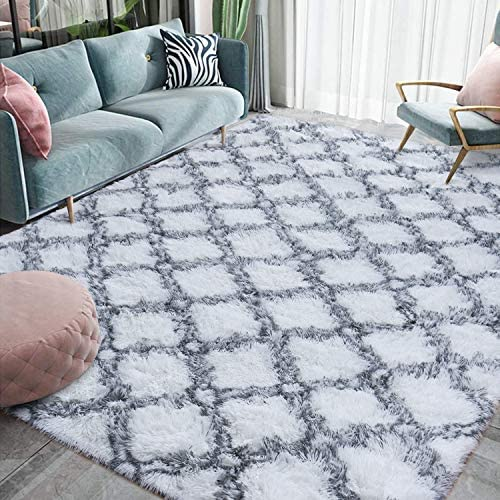Homore Fluffy Bedroom Rug Super Soft Velvet Shaggy Plush Carpet 6×9 Feet