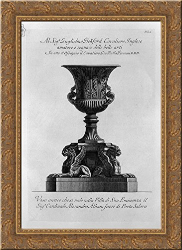 Antique vase of marble (Villa Albani) 20x24 Gold Ornate Wood Framed Canvas Art by Piranesi, Giovanni Battista