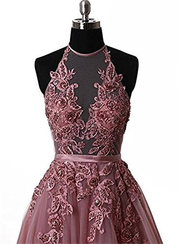 A Dresses Line Evening Prom Backless Women's Gowns Appliques BRL Halter Red MALL fwqY1qE