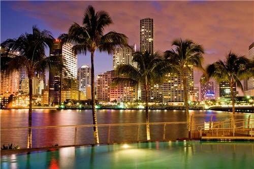 Amazon Com Miami Skyline Sunset Glossy Poster Picture Photo Florida Palm Trees Lights Prints Posters Prints