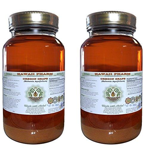 Cheap Oregon Grape Alcohol-FREE Liquid Extract, Oregon Grape (Mahonia aquifolium) Dried Root Glycerite Natural Herbal Supplement, Hawaii Pharm, USA 2×32 fl.oz