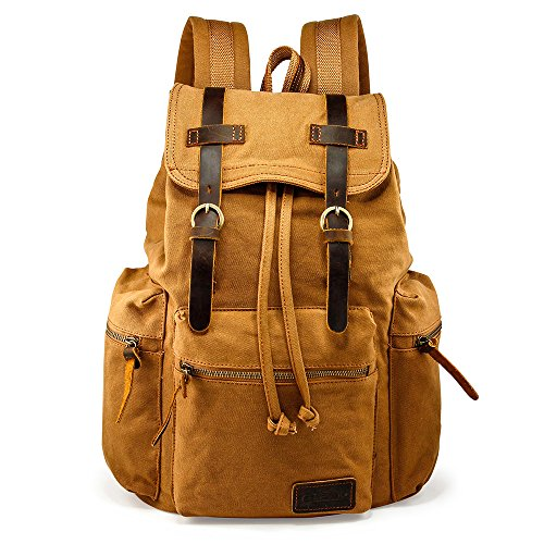 (GEARONIC TM 21L Vintage Canvas Backpack for Men Leather Rucksack Knapsack 15 inch Laptop Tote Satchel School Military Army Shoulder Rucksack Hiking Bag Yellow)