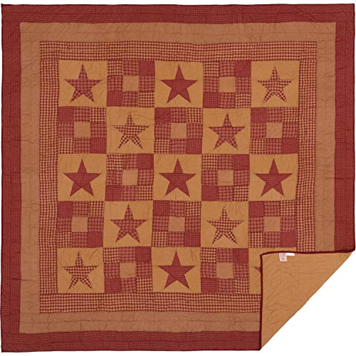 VHC Brands Classic Country Primitive Bedding - Ninepatch Star Red Quilt, Queen ()