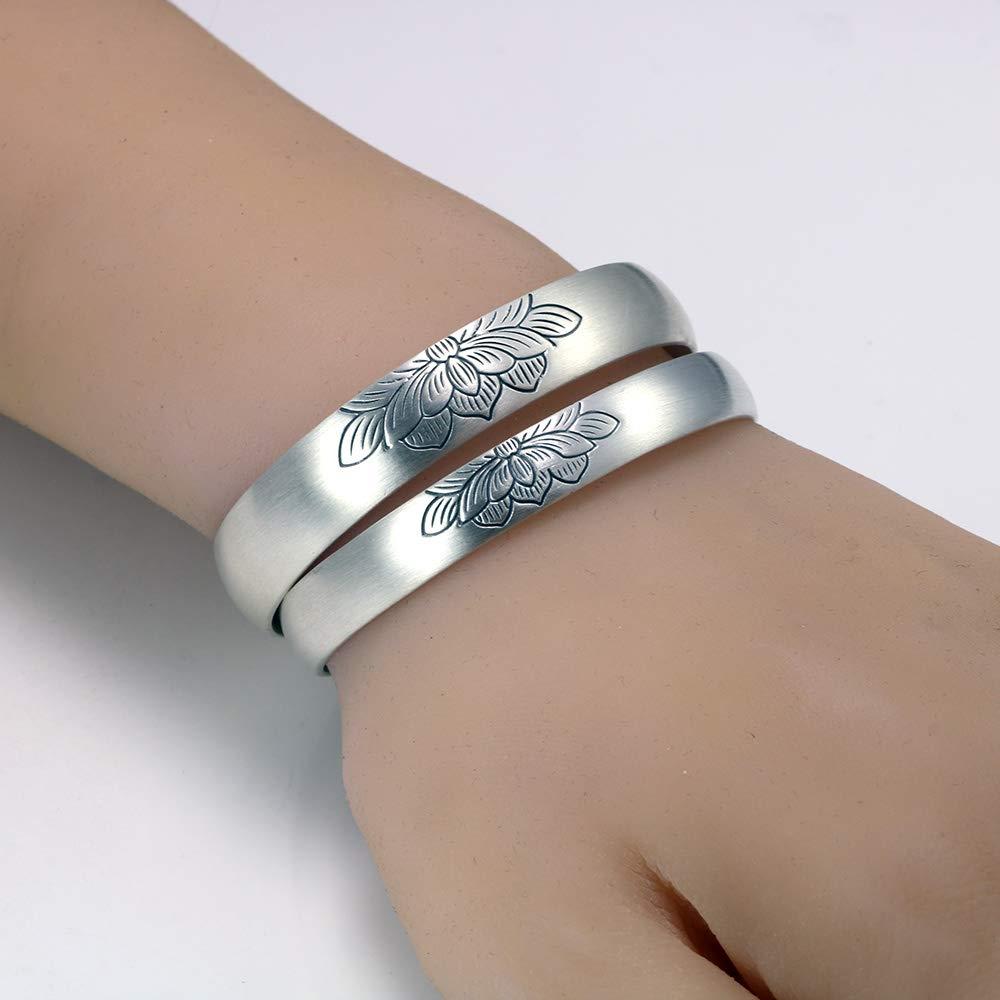 Damen Armbänder ABDYTE 999 Sterling Silver Lotus Bangles for Couples Men and Women Matte Process Open Type Wide Silver Bracelets Bangles